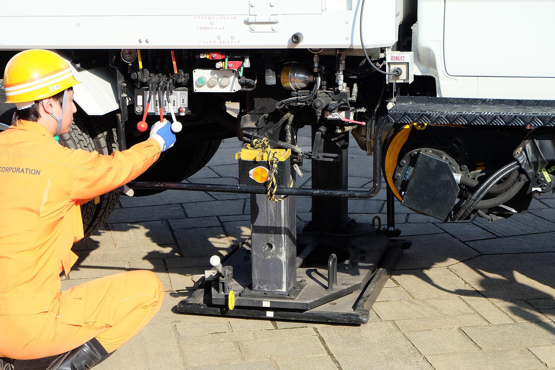 軌陸車を道路から線路に移す実演。軌陸車中央のジャッキで車体を持ち上げる。