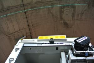 レーザースキャナが中心角120度から150度の扇形にレーザーを照射