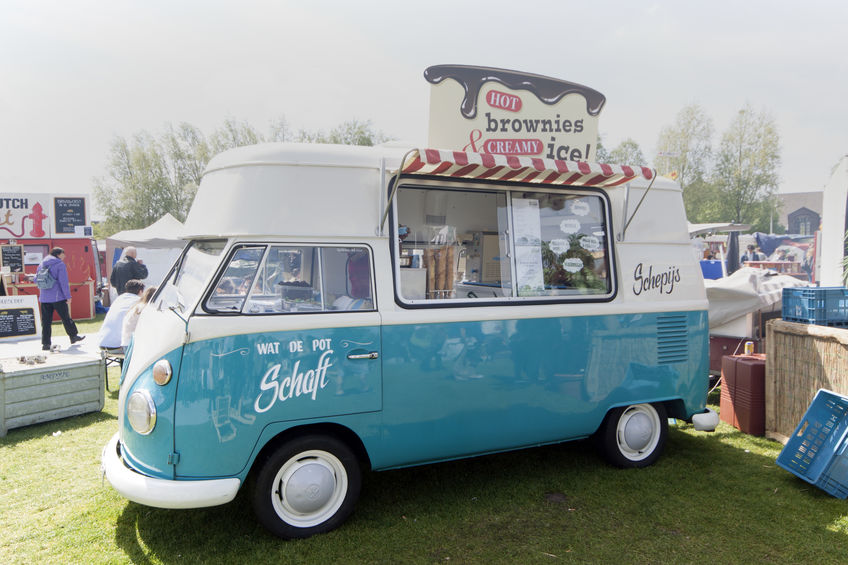 Amsterdam,netherlands-may 17, 2015: volkswagen t1 ice cream truck at the rolling kitchen festival