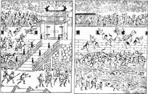『むさしあぶみ』より、明暦の大火当時の浅草門。牢獄から解放された罪人達を「集団脱走している」と誤解した役人が閉門したので逃げ場を失った多数の避難民が炎に巻かれ、塀を乗り越えた末に堀に落ちていく状況